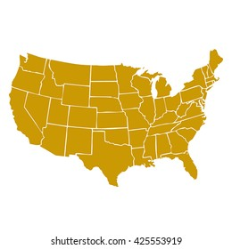 isolated political USA vectorial map of united states of america with golden internal area of 50 country frontier contour