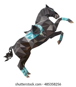 Isolated polygon dark sport horse  rearing up  with saddle. Vector, polygonal, image of a stallion on white background.