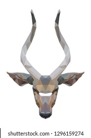 isolated polygonal nyala, geometric polygon wild life animal, vector illustration
