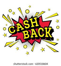 Isolated Pop Art Emblem Cash Back. Vector Illustration.