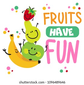 Isolated print fruits have fun for T-shirt with banana, apple pear and strawberry. Prints for textiles, fabrics, postcards, messages, posters, web.