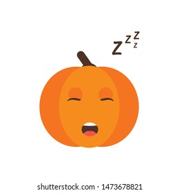 Isolated pumkin cute smile character. Cartoon halloween symbol. Vector Illustration. Emoji. Sleeping Face