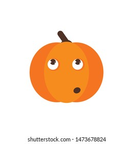 Isolated pumkin cute smile character. Cartoon halloween symbol. Vector Illustration. Emoji. Face With Rolling Eyes
