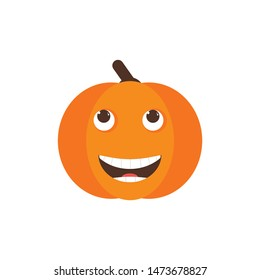 Isolated pumkin cute smile character. Cartoon halloween symbol. Vector Illustration. Emoji. Haha emoji. Smiley face
