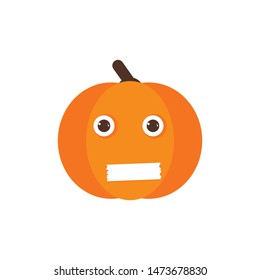 Isolated pumkin cute smile character. Cartoon halloween symbol. Vector Illustration. Emoji. Close mouth Face