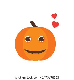 Isolated pumkin cute smile character. Cartoon halloween symbol. Vector Illustration. Emoji. Smiling Face With Heart