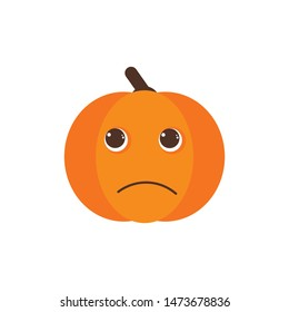 Isolated pumkin cute smile character. Cartoon halloween symbol. Vector Illustration. Emoji. Pensive Face