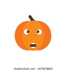 Isolated pumkin cute smile character. Cartoon halloween symbol. Vector Illustration. Emoji. Face With Open Mouth