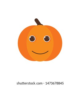 Isolated pumkin cute smile character. Cartoon halloween symbol. Vector Illustration. Emoji. Smiley face