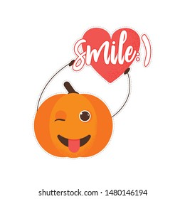 Isolated pumkin cute smile character icon label. Cartoon halloween symbol. Vector Illustration. Emoji. Winking Face With Tongue