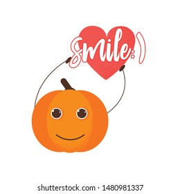 Isolated pumkin cute smile character. Cartoon halloween symbol in flat style with heart and word smile. Vector Illustration. Emoji. Smiling face