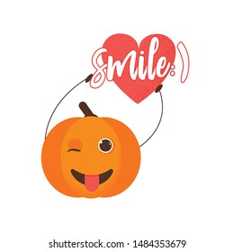 Isolated pumkin cute smile character. Cartoon halloween symbol. Vector Illustration. Emoji. Winking Face With Tongue