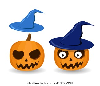 Isolated Pumpkins and witch hat on white, vector