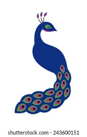 Isolated purple blue peacock vector drawing logo