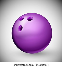 Isolated purple bowling ball. Eps 10