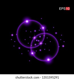 isolated purple Rays with lens flare, Sun flare, flare on the black background. Transparent Vector Illustration