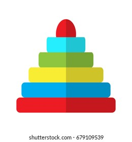 Isolated pyramid stack toy on a white background, Vector illustration
