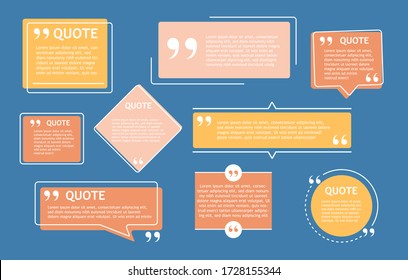 Isolated quote box and speech bubble On a dark blue background Suitable for presentations and creative design of information materials Different shapes and with space for your text Vector illustration