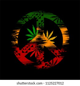 isolated rastaman symbol in the colors of Jamaica - pacifist sign, leaves of Marijuana