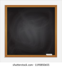 Isolated realistic black blackboard background and wooden frame, rubbed out dirty chalkboard, vector illustration