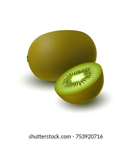 Isolated realistic colored whole juicy kiwi and half green kiwi with shadow on white background. Side view.