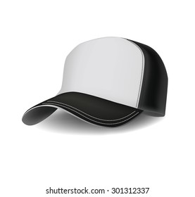Isolated realistic combined black and white sports baseball cap. Vector illustration