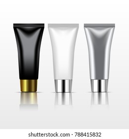 Isolated realistic cream skin care tubes in white, black and silver color.