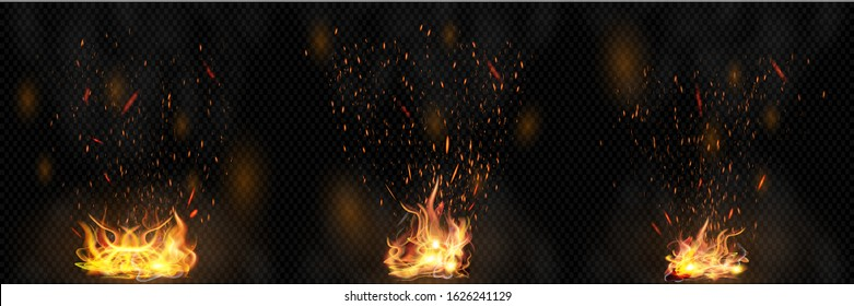 Isolated, Realistic Fire Effects For Your Projects, Design, Covering And Decoration On Dark Transparent Background. Concept Of Bright Sparkles And Fire Flames Elements. Vector Illustration Collection.
