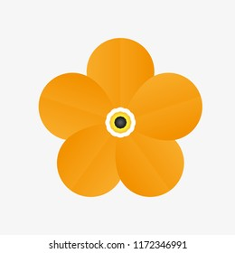Isolated realistic flower with five yellow petals on white background.  Realistic style for banner, poster, promotion, web site, online shopping, advertising.
