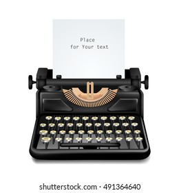 Isolated realistic image of black vintage typewriter with editable paper sheet inserted with shadow on blank background vector illustration