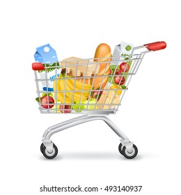 Isolated realistic image of shopping trolley wheeled basket with products side view with shadows on blank background vector illustration