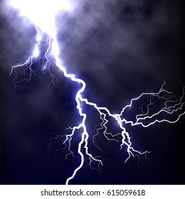 Isolated realistic lightning in the dark blue sky,tunderstorm element vector illustration.