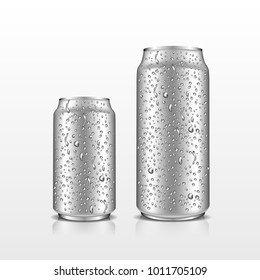 Isolated realistic metal aluminum drink cans with water drops for beer and soda beverages. Vector 3d illustration for design  placard, presentation, banners and cover.