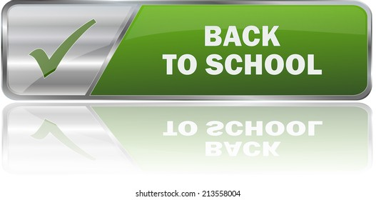 isolated realistic modern green 3D vector eps10 back to school label sign