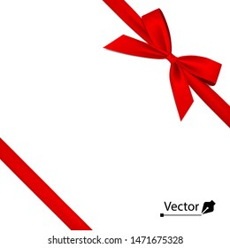 Isolated realistic tied the corners red bow and ribbon.