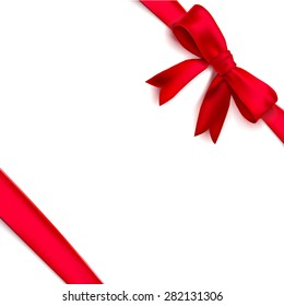 Isolated realistic tied the corners red bow and ribbon. Vector illustration