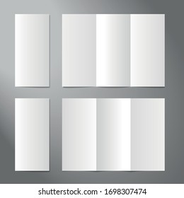 isolated realistic trifold standard leaflet editable mockup for layout presentation, empty page, set 1