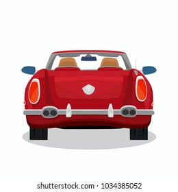 Isolated red car, retro cabriolet on white background with shadow. Rear back view. Simplistic realistic comic art style. Vector illustration