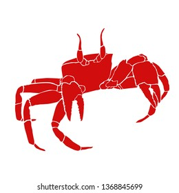 isolated red crab on white background, sea life animal vector illustration