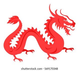 Isolated red dragon on white. Hand drawn ruddy chinese symbol reptilian traits of prosperity and welfare. Vector illustration of twisted fire-spewing animal with tail, four claws and open mouth