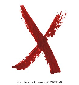 Isolated red marker pen cross scribbles, on white background. Grunge elements for your design