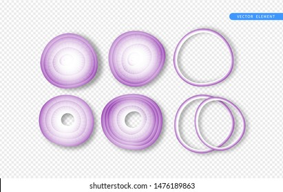Isolated red onion vegetable on transparent background. Realistic 3d top view cooking ingredient collection.