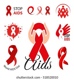 Isolated red ribbon disease awareness logo and emblem. World Aids Day concept logotype set. Stop virus icon. International world support campaign for sick people. Waving scarf vector illustration.