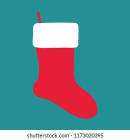 isolated, red sock for gifts