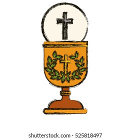 Isolated religion cross and cup design