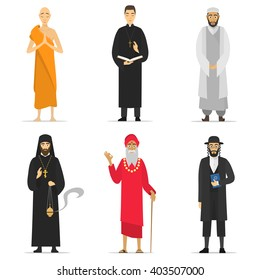 Isolated religion ministers. Monks and priest. greeting. Buddhist, Catholic, Muslim, Orthodox Priest, Sadhu, Orthodox Jew. World religions monk people. isolated cartoon greeting characters vector monk