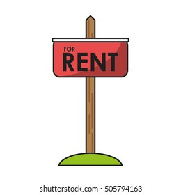 Isolated rent road sign design