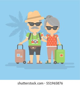 Isolated retired couple on vacation. Happy funny grandparents in sunglasses with cameras and suitcases.