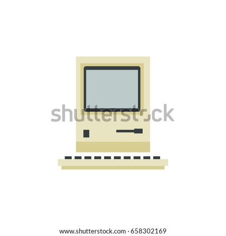 Isolated Retro Notebook Flat Icon Computing Stock Vector