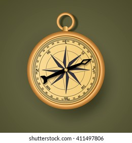 Isolated  retro style metal compass